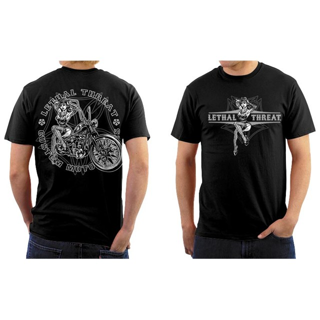 Lethal ThreatR Vintage Pin Up Motorcycle T Shirt