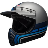 Moto-3 - Matte Silver/Black/Blue Stripes