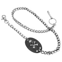Diamond Cut Chain with Leather Tab and Skull