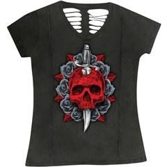Dagger Skull V-Neck Womens Shirts
