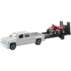 1:43 Scale White Chevy Truck with Trailer and ATV