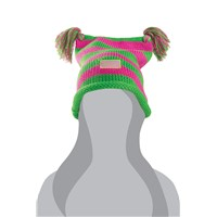 Youth Arctic Cat Pigtails Beanie Pink/Lime