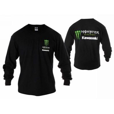 monster energy kawasaki long sleeve tee shirt black large ebay. Black Bedroom Furniture Sets. Home Design Ideas