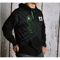 Checkered Splash Zip-Front Hooded Sweatshirt