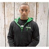 Kawasaki 3 Green Lines Zip-Front Hooded Sweatshirt