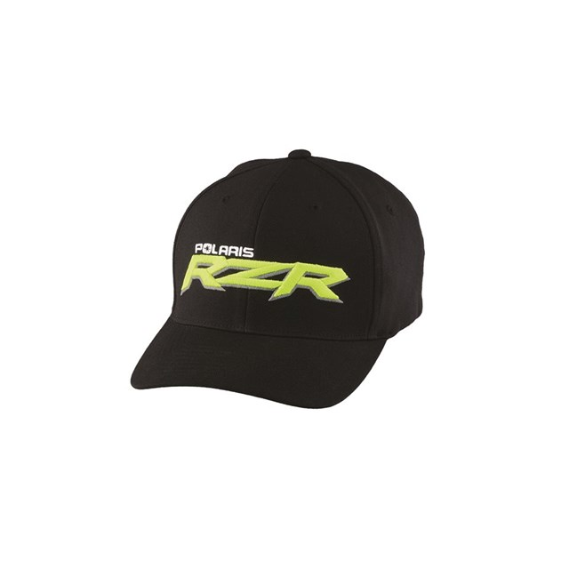 Mens logo cap l xl black lime by rzr polaris parts 123 for Hats and shirts with company logo
