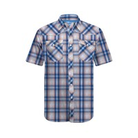 BLUE MEN'S RZR® PLAID SHORT-SLEEVE SHIRT BY POLARIS®