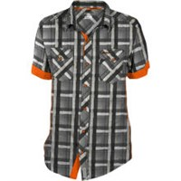 BLACK PLAID RZR® MEN'S SHORT-SLEEVE DESERT RUN GRID CHECK SHIRT BY POLARIS®