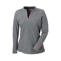 Womens Long Sleeve V-Neck Tee- Grey