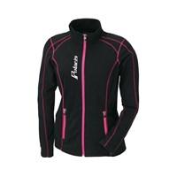 Womens Full Zip Ice Fleece- Black/Pink