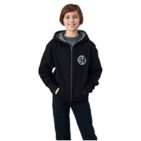 Youth Full Zip Retro Hoodie - Black