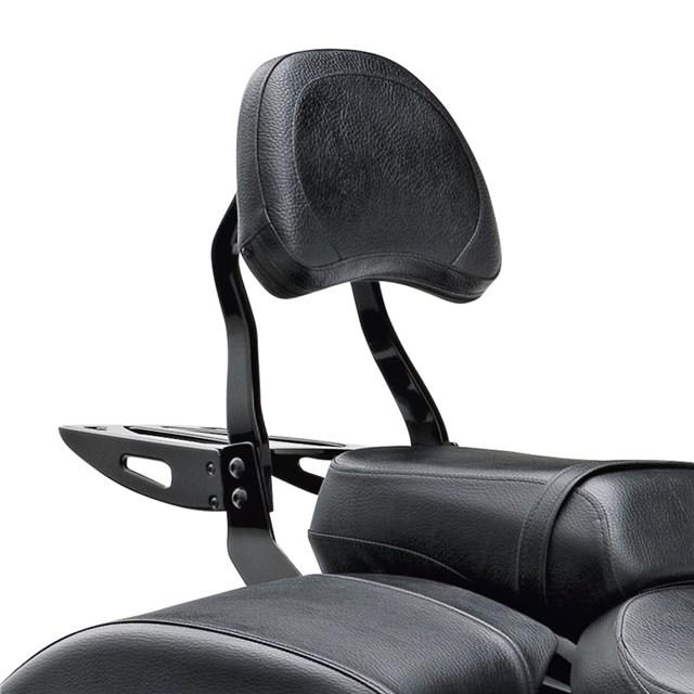 Black Billet Passenger Backrest Large Pad | CyclePartsNation