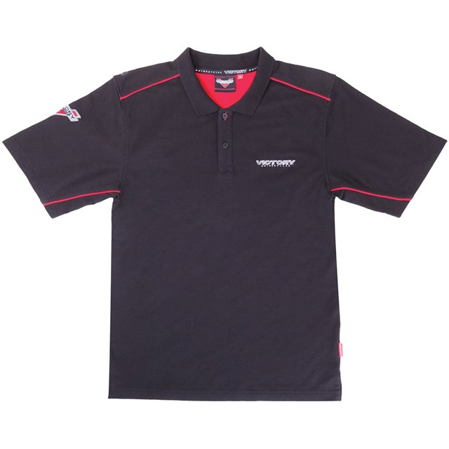 Men 39 S Brand Polo Shirt Black By Victory Motorcycles